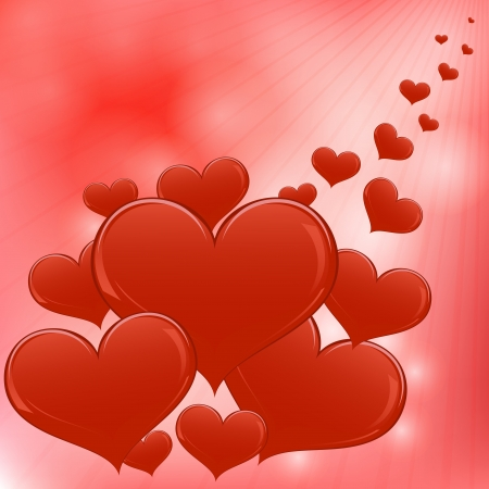 Red hearts Valentine day vector background   Vector