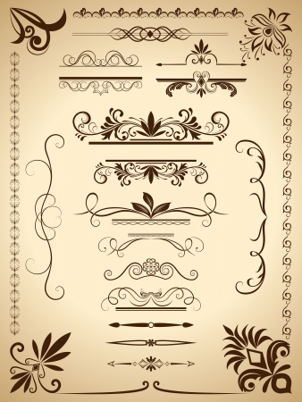 Vintage calligraphic vector design elements isolated on old paper background  Vettoriali
