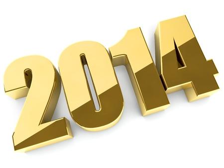 3 D の 2014 年ゴールデン シャドウと計数します。 写真素材