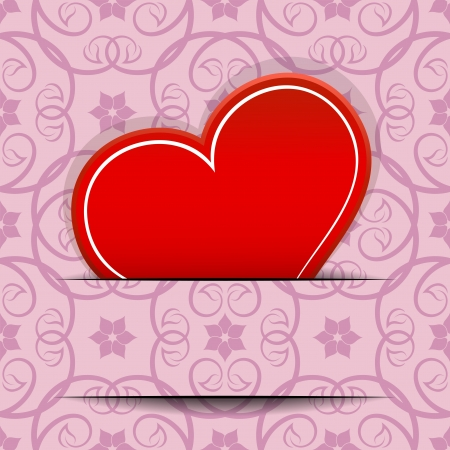 Red heart inserted in paper cut card with copy space   Vector