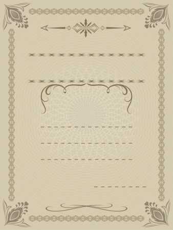 vertical divider: Certificate template with copy space for your text  Illustration