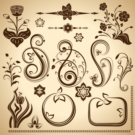 Floral vintage design elements isolated on aged color background Stock Vector - 17599683