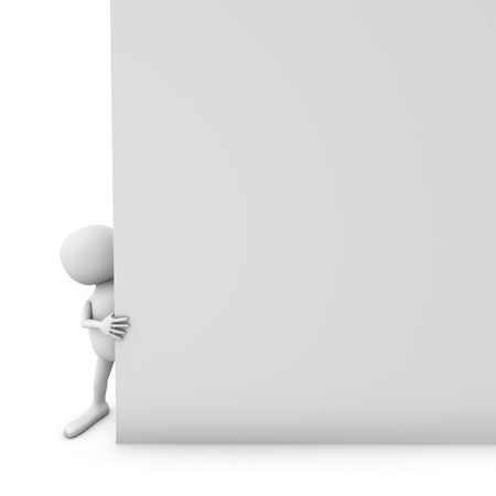 little business man: 3D white man holding blank paper page with white background.