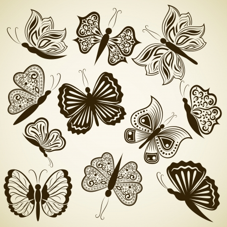 butterfly background: Butterfly shape design elements isolated on beige background