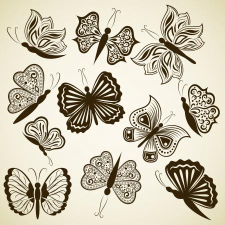 papillon dessin: �l�ments de conception de forme de papillon sur fond beige isol�s