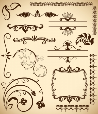 Floral vintage vector design elements isolated on aged color background  Set 20  Stock Vector - 17757999