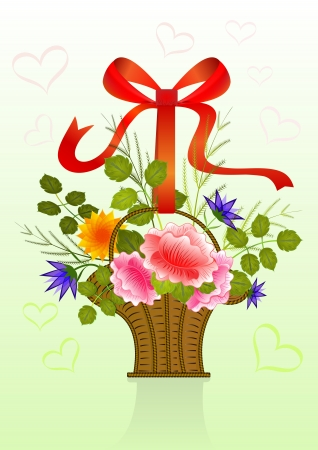 Present flower basket with red ribbon. Vector