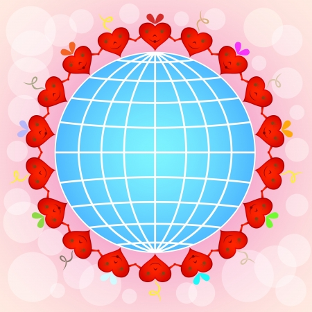Cartoon red hearts circle around globe on pinky background. Vector