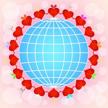 pinky: Cartoon red hearts circle around globe on pinky background. Illustration