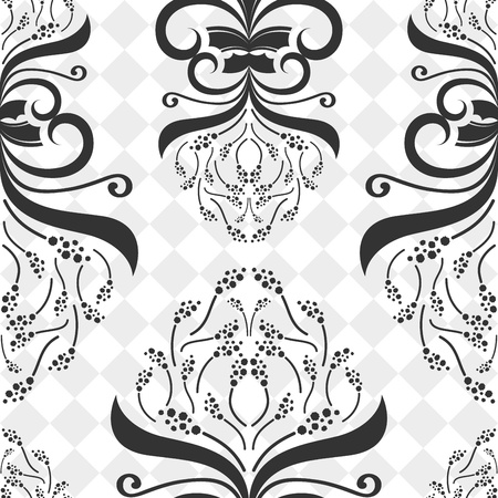 Seamless decorative black and white flower pattern  Vector
