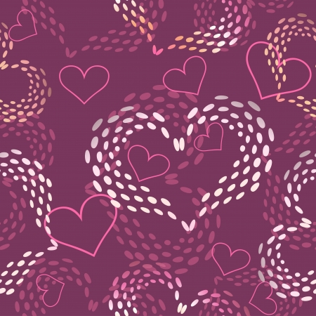 Seamless pink Valentine's day  vector background with hearts  Vector