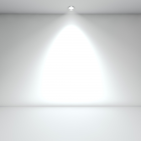 light room: Illuminated empty white interior with spot light  Stock Photo
