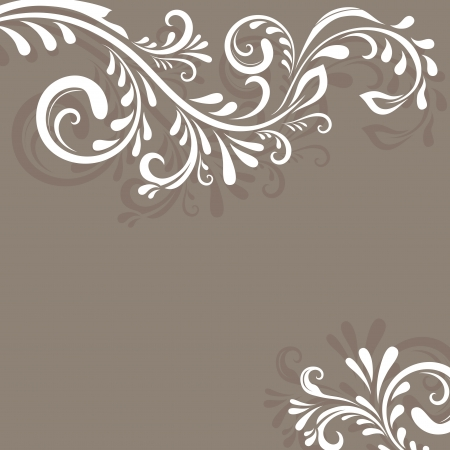 corner design: Beige vector background with floral ornament and copy space