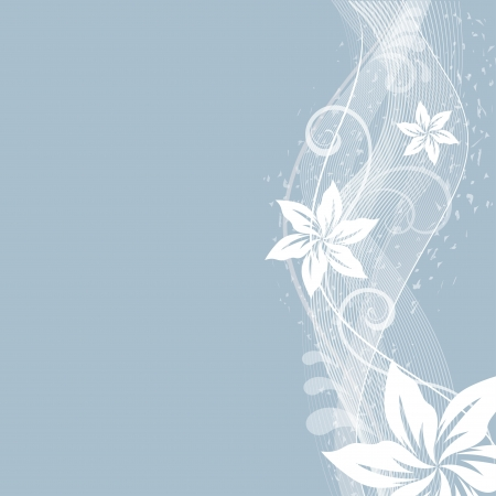 copy space: Abstract flowers side ornament  vector background with copy space  Illustration