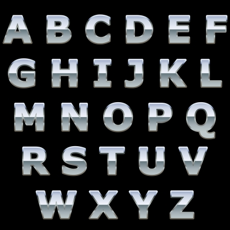 chrome letters: Chrome metal shiny letters isolated on black background