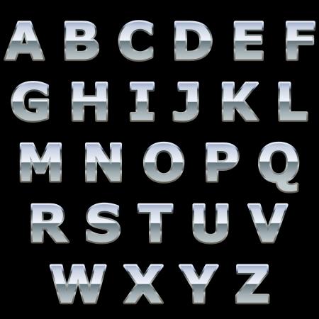 letras cromadas: Metal cromado brillante cartas aisladas sobre fondo negro Vectores