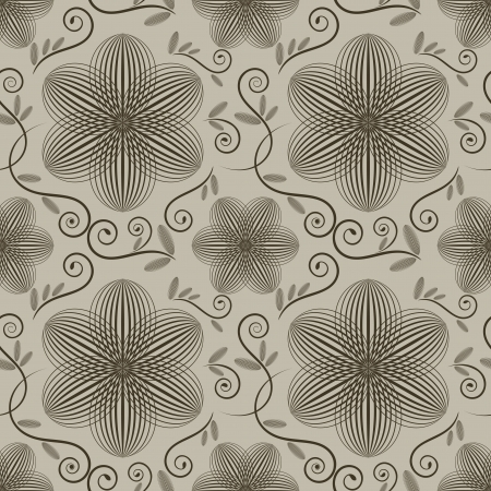 lined: Seamless ornate vector wallpaper pattern with flower buds