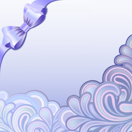 splutter: Purple splutter ornament with bow background with copy spaces  Illustration