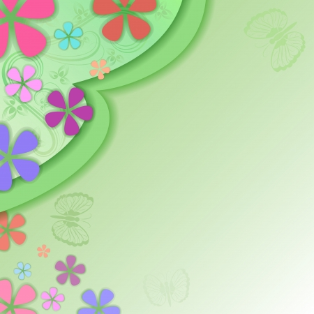 Summer green background with flower buds and copy space  Vector