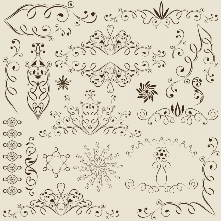 Vintage calligraphic design elements isolated on beige background
