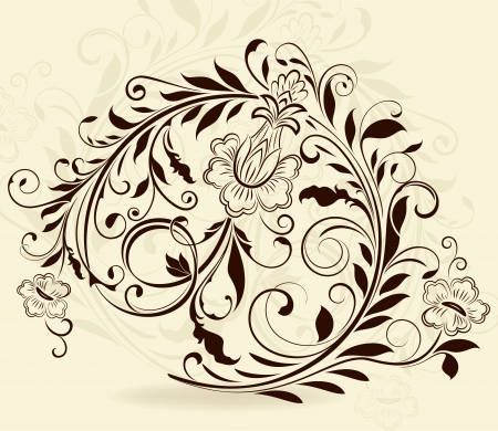 Vintage floral design element isolated on beige background  Vector