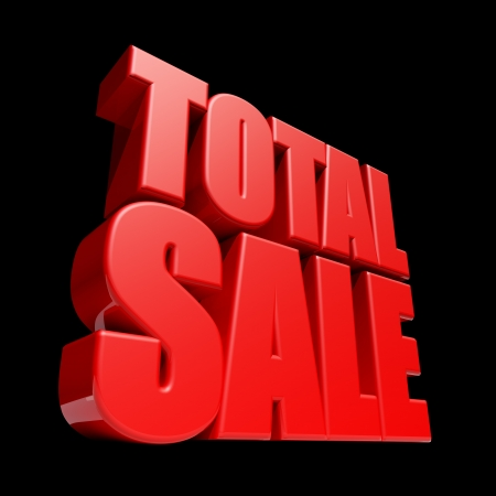 big sale: Total Sale 3D letters render isolated on black background