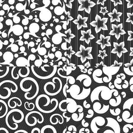 Set of 4 seamless abstract monochrome patterns  Vector