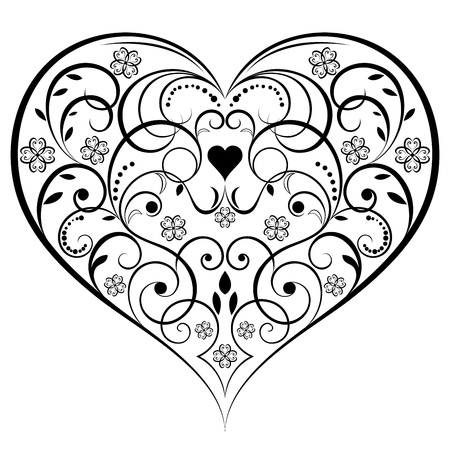 outline drawing: Abstract heart shaped ornament isolated on white background  Illustration