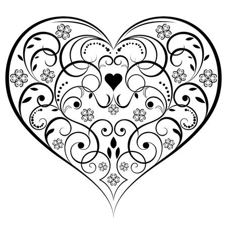 dessin coeur: Résumé ornement en forme de coeur isolé sur fond blanc Illustration