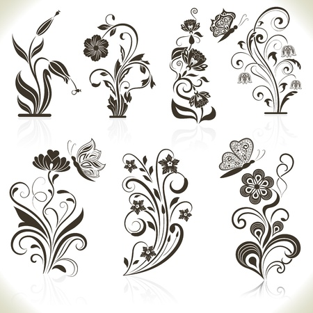 flower clip art: Floral flower design elements isolated on aged color background