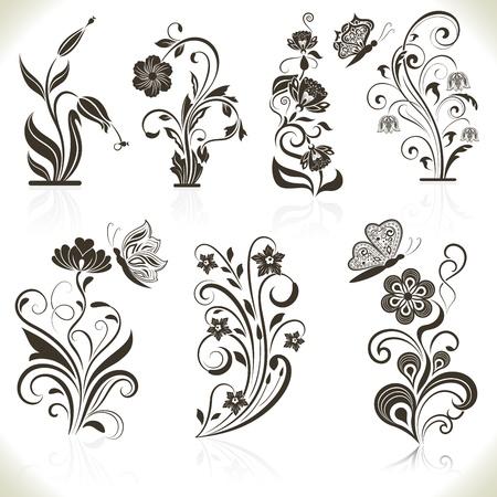 outline flower: Floral flower design elements isolated on aged color background