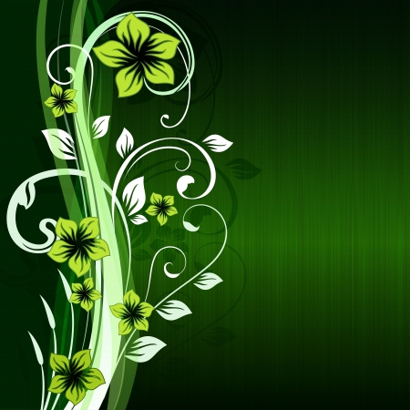 Green floral background with copy space  Vector