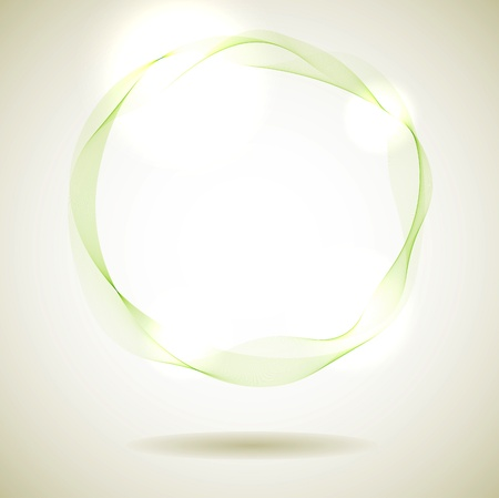 Abstract green smoke ring design element. Vector