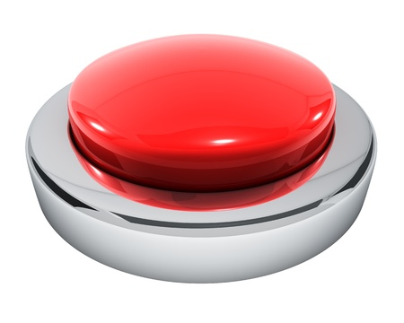 3d button: Big red button isolated on white background