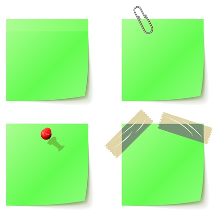 Green sticky notice papers isolated on white