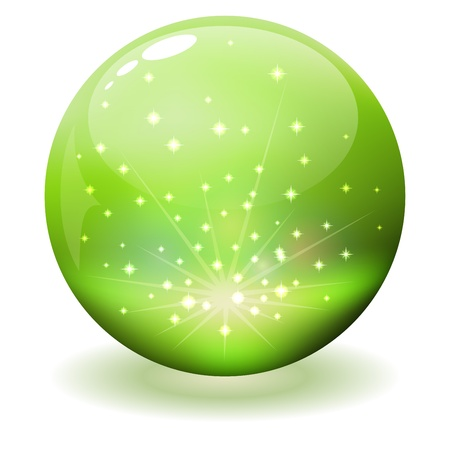 Glossy sphere with sparks inside isolated on white Stock Vector - 19701761