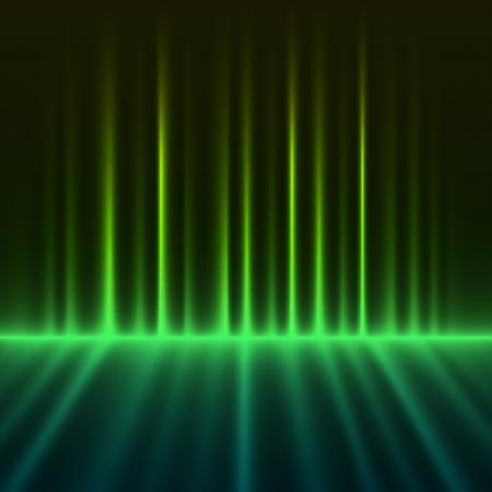 aurora borealis: Abstract green colored aurora borealis lights vector background