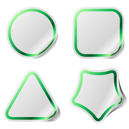 Blank stickers with green frame  Vector