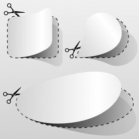 price cut: Cedola pubblicit� bianco bianco tagliato da foglio di carta Vettoriali