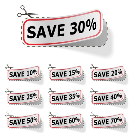 peeling corner: Discount vector labels with red frame isolated on white  Illustration