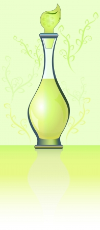 scent: Green bottle of perfume with ornament vector illustration  Illustration