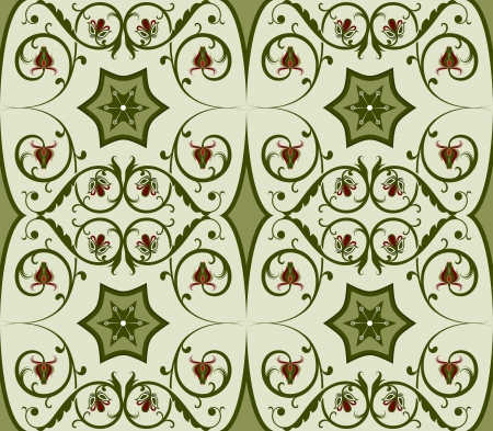 Seamless green floral vector pattern  Vector