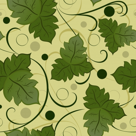 Seamless green leaves vector pattern  Vector