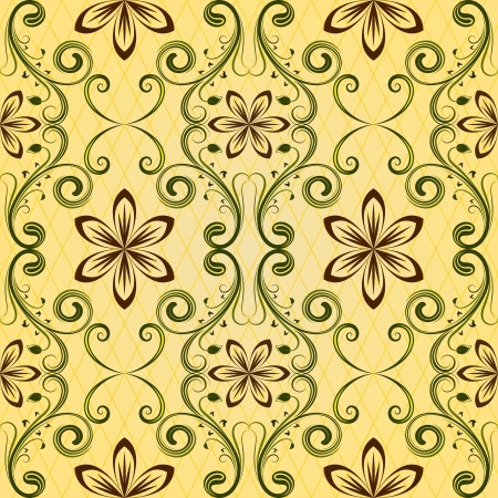 green carpet: Seamless yellow floral vector pattern
