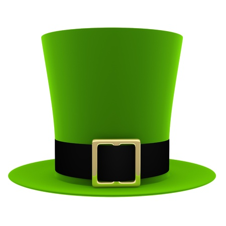 brimmed: Green hat isolated on white background  St  Patrick's Day symbol  Stock Photo