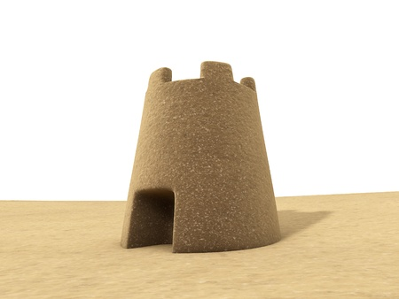 sandcastles: Sand castle 3D render wirh white background