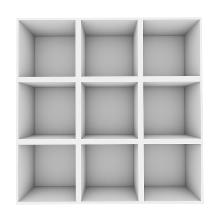 shelf: White square shelves isolated on white background  Stock Photo