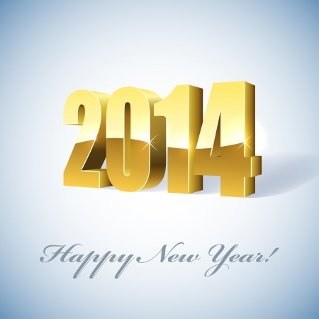 New 2014 year golden figures card   Stock Vector - 19703362