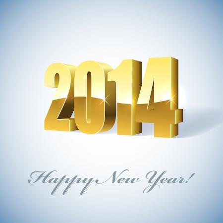 New 2014 year golden figures card Stock Vector - 19703362