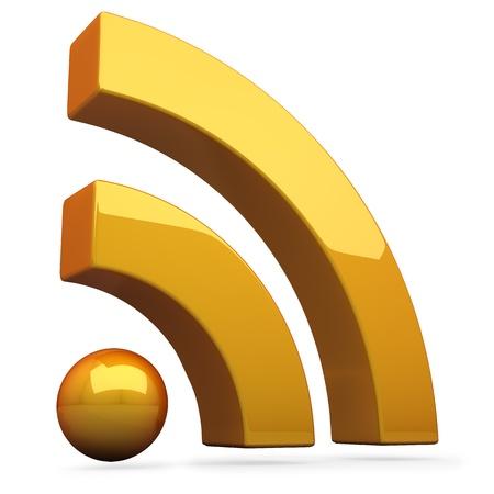 syndication: 3D orange RSS symbol isolated on white background  Stock Photo
